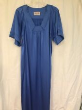 NICE Vanity Fair Women's Small Nylon Satin Long Nightgown Short Sleeve Blue