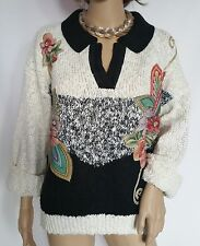 LINDSEY BLAKE SWEATER WHITE / BLACK WITH FLOWERS & GOLD STUDS  SIZE XL