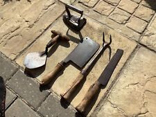 More details for job lot antique early 1900's hand tools,cleaver,rake,scythe,trowel,iron