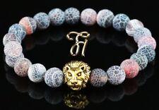 Achat bunt matt - goldfarbener Löwenkopf - Armband Bracelet Perlenarmband