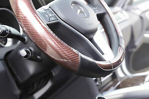 New 14.5 Dia Carbon Fiber Brown Genuine Leather Steering Wheel Cover 7472