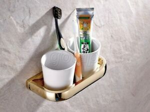Gold Color Brass Bathroom Ceramics Dual Toothbrush Holder Wall Mounted Gba846