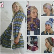 KNITTING PATTERN 2 Styles Hats Mitts Headband Wrap Snood Chunky King Cole 5153