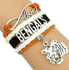 WHOLESALE LOT of 10 Cincinnati Bengals Football Infinity Bracelets