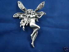 Victorian Sterling Silver Naked Fallen Angel Fairy Wings Pendant Art Nouveau
