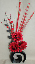 HANDMADE ARTIFICIAL SILK RED DRAGON FLOWERS WITH GRASSES IN BLACK FOSSIL VASE
