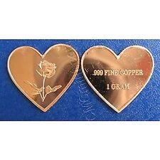 5 X 999 cuivre Lingots cœur avec rose super cadeau Mères neuf