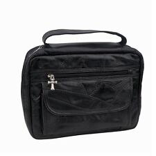 Holy Bible Book Cover Black Genuine Leather Carrying Case Tote Bag New