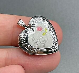 "Sterling Silver 925 I Love You Heart Locket Flower Pendant MARKED 1"" P01"
