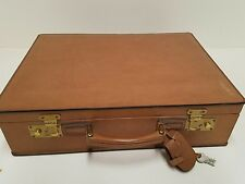 Vintage Italian leather briefcase made in Italy Tan hard case lawyer doctor tan