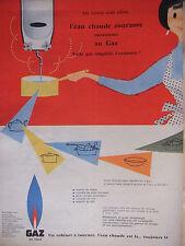 PUBLICITÉ 1957 GAZ DE VILLE ROBINET A TOURNER L'EAU CHAUDE ET LA - ADVERTISING