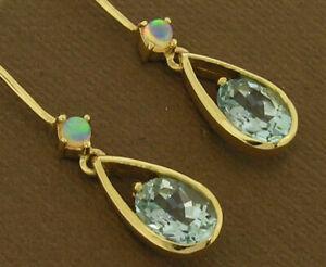 E062 Genuine 9K Yellow, White or Rose Gold NATURAL Aquamarine & Opal Earrings