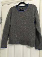 Topshop Grey Blue Knitted Split Side Jumper Size 6