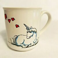 Vintage Russ Berrie Coffee Mug  Cup with Unicorn & Hearts