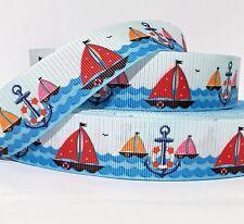 "Grosgrain Ribbon 7/8"" Sailboats Sea Boats Anchors Nautical - A1B - Summer"