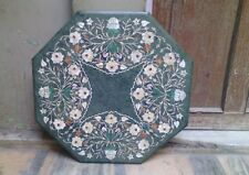 "OCTAGON 24"" MARBLE DINING COFFEE GREEN CORNER CENTER  TABLE TOP MOSAIC INLAY WOR"
