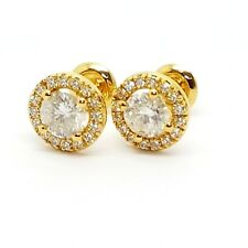 1.40 Carat Round Diamond Halo Set Screw Back Stud Earrings, 18k Yellow Gold