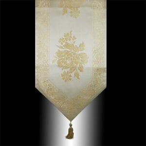 SHINY ABSTRACT GOLD PEONY BEIGE DECORATIVE WEDDING BED TABLE RUNNER CLOTH