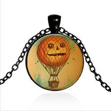 Pumpkin hot-air balloon Cabochon BLACK Glass Chain Pendant Necklace