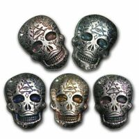 2 oz. 999 Fine Silver Sugar Skull - Day of the Dead - All Seeing Eye - 3-D - New