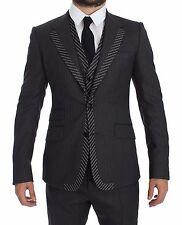 NEW $2900 DOLCE & GABBANA Suit Tuxedo Gray Striped 3 Piece Slim EU52 / US42 / XL