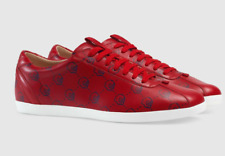 MENS GUCCI RED LEATHER GHOST APOLLO ST HAMLET SNEAKER  GG LOGO GUCCI G 9 US 9.5