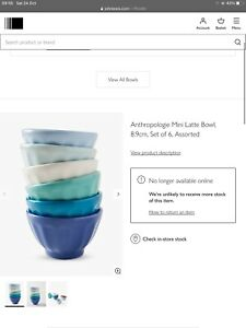 John Lewis Anthropologie Mini Latte Bowls. Set Of 6 Bnib £22