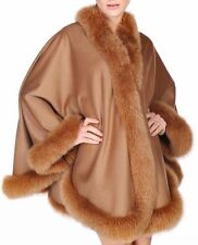 GOLD CAMEL FOX FULL SKIN TRIMMED 100% CASHMERE SWING CAPE WRAP COAT NEW W TAGS