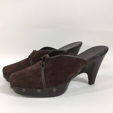 Womens COLE HAAN Brown Suede Leather Slip On Clogs Mules Brass Trim 11 B Brazil