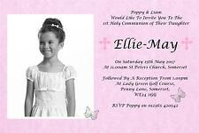 20 Personalised Girls Pink First , 1st Holy Communion Invitations / Invite C12P