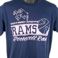 Roosevelt Rams Basketball T Shirt Vintage 80s High School Made In USA Size Large