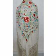 New listing Antique Silk Shawl Wrap Piano Scarf Hand Embroidered Floral With Fringe.