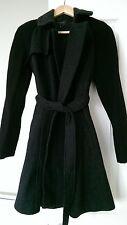 PORTMANS Wool Two Tone Dark Grey & Black Sleeves Coat Waist Tie Size 6