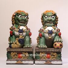 China WuCai Pottery Porcelain Guardian Animal Fu Foo Dog Lion Statue Pair