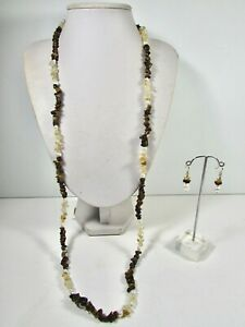 Lee Sands Tigers Eye, Citrine, Pearl Necklace & Earring Set