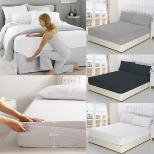 Luxury Extra Deep 25CM Fitted Sheet Bed Sheets Single Double Queen King Size AU