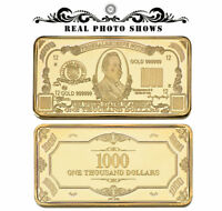 WR America US $1000 One Thousand Dollar Bill Banknote Money Gold Art Bullion Bar
