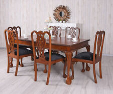 7tlg Table and Chairs Mahogany Seating Area Table+6 solid dining antique