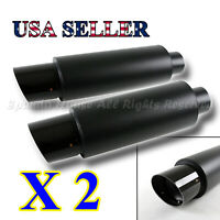 "FOR EURO CAR!2X N1 STYLE DEEP TONE MATTE BLACK EXHAUST MUFFLER + 4"" CF SLANT TIP"