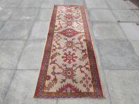 Antique Hand Made Turkish Oushak Ushak Oriental Cream Wool Long Runner 235x82cm