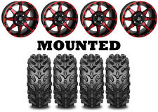 Kit 4 Interco Swamp Lite Tires 27x9-14/27x11-14 on STI HD6 Red Wheels IRS