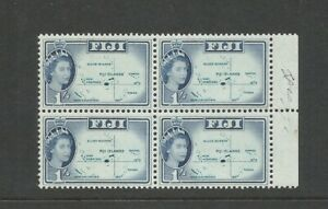 Fiji 1954 1s Blue Definitive Block Of 4 (Location Map) Unmounted Mint SG 306