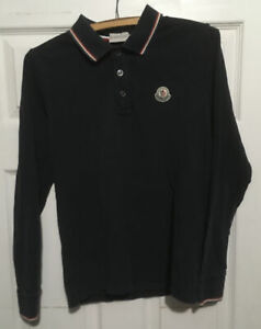 Moncler Long Sleeve Polo Shirt Black Small