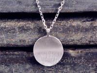 Silberkette mit Anhänger Gewölbt Rund Matt Gebürstet Schlicht Halskette Damen