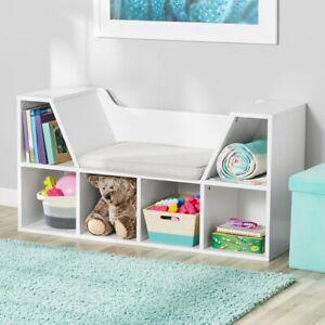 Zone Kids Reading Nook and Storage Book Case, white seat cubbie storage