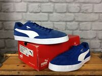 PUMA MENS UK 8 EUR 42 MATCH VULC BLUE WHITE SUEDE TRAINERS