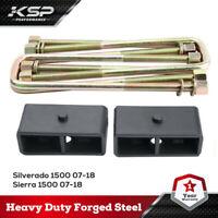 """Silverado Sierra 1500 2"""" Tapered Rear Lift Kits Blocks 07-19 2WD/4WD U Bolts"""