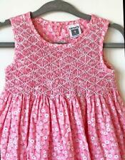 Carters Dress Hand Smocked Size 9 months Baby Girl Pink Flowers Cotton
