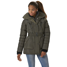 Women's Rocawear Short Belted Puffer Jacket w/ Pillow Collar Olive M #NJG2N-592
