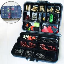 127tlg.Texas Rig Pack Kit Tackle Haken Kit für Rock Sea Fishing Zubehör mit box